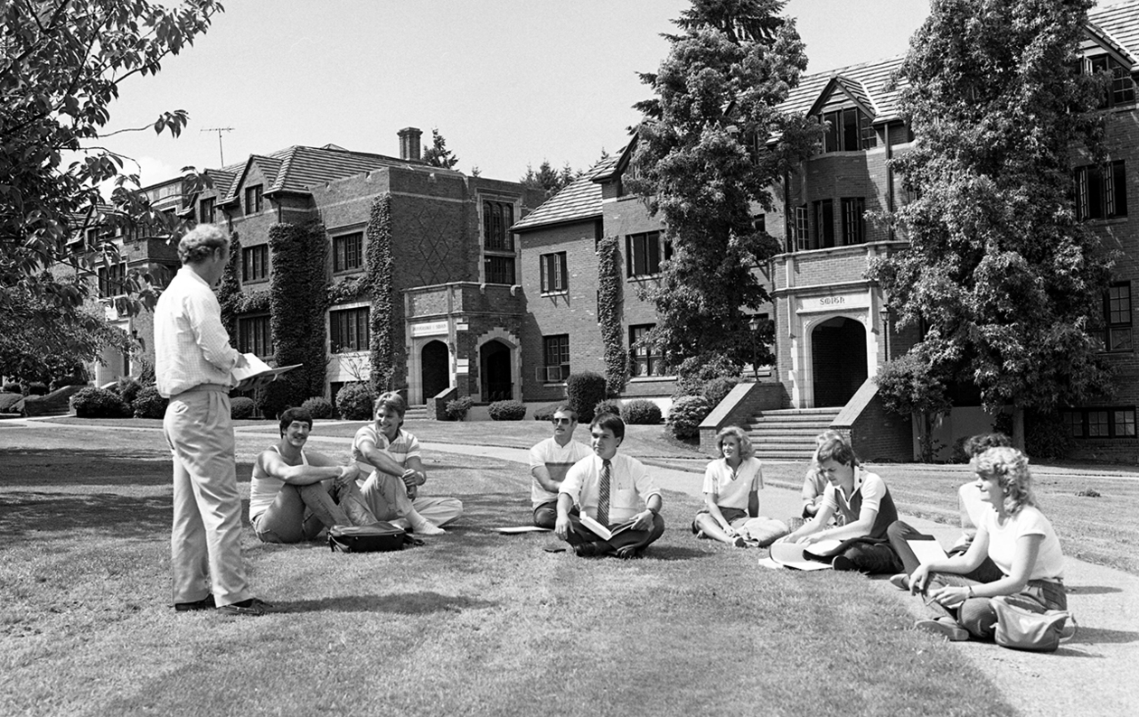 Archive photo of an outdoor class from July 24, 1985