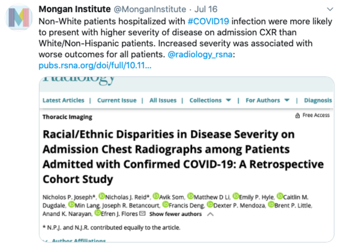 Tweet that reads: Non-White patients hospitalized with #COVID19 infection were more likely to present with higher severity of disease on admission CXR than White/Non-Hispanic patients. Increased severity was associated with worse outcomes for all patients.