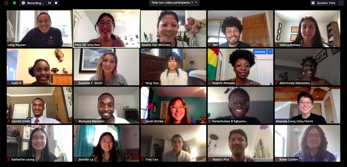 Screenshot of Zoom call with most of the 2020 cohort