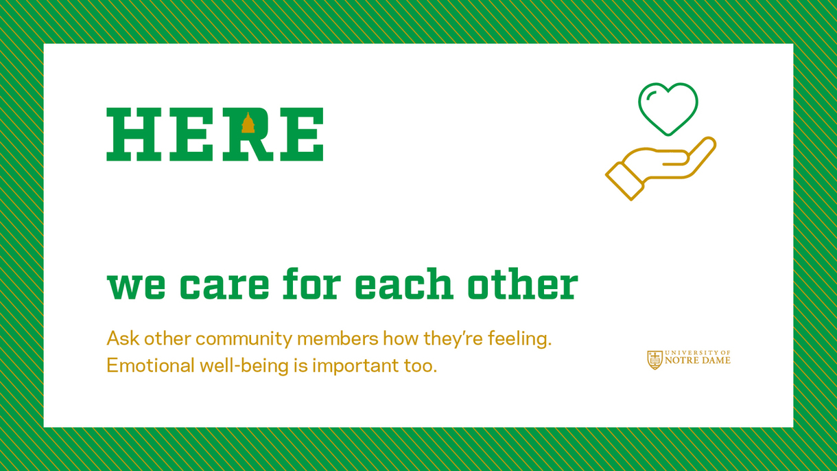 Graphic that says here, we care for each other. Click for more information.