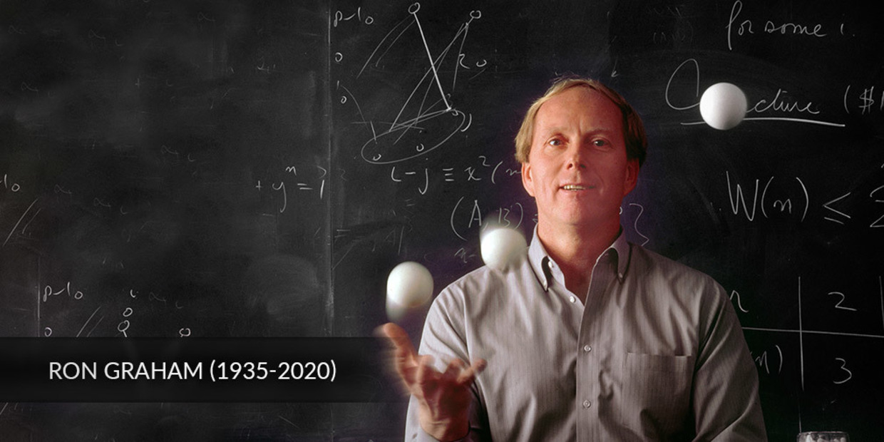 Ronald Graham, juggling in front of a blackboard