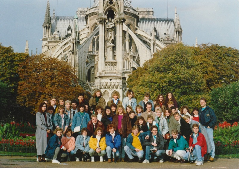Paris Study tour group picture behind Notre Dame Cathedral