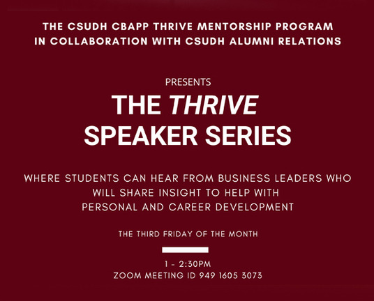 Flyer image for THRIVE Speaker series