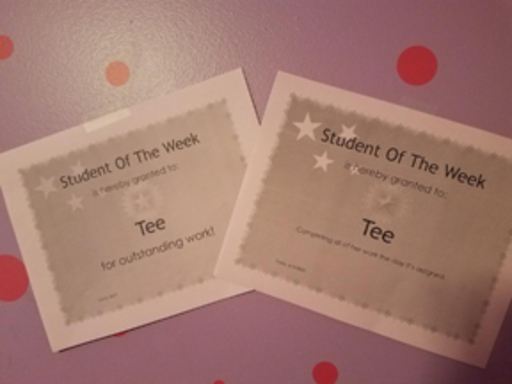 A picture of the Student of the Week certificates.