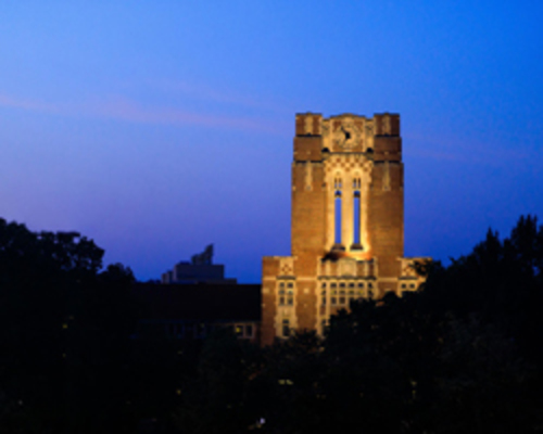 Ayres Hall at dusk