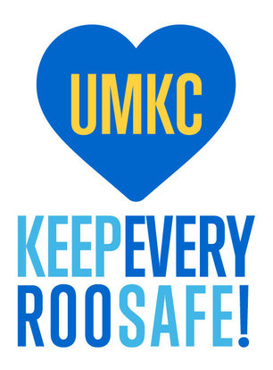 outline of a heart UMKC in the middle and the phrase Keep Every Roo Safe