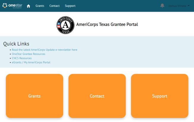 Screenshot of the AmeriCorps Texas Grantee Portal home page