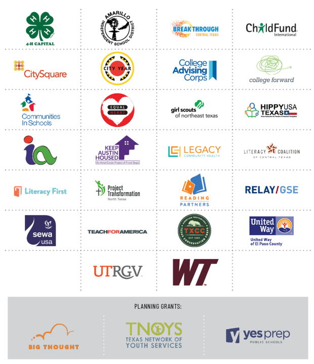 Grid of logos of grantees in the 2020-2021 Americorps Texas portfolio