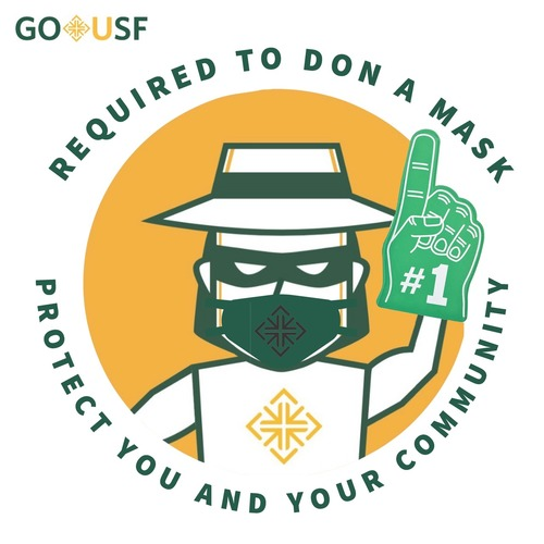 GoUSF Required to Don a Mask Protect you and your community (text) Don in a mask