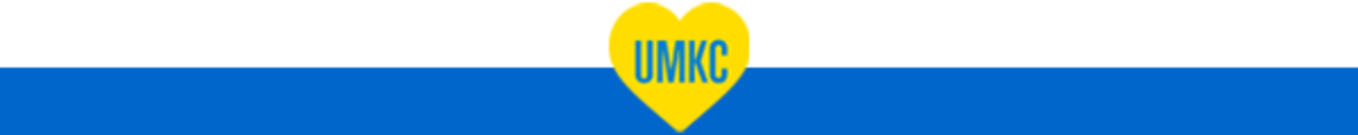 UMKC letters in a yellow heart above a blue box