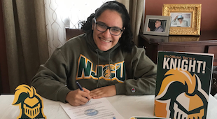 Samdra Guerrero with NJCU Swag