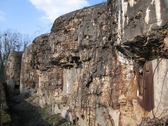 Massive damaged concret walls of the Maginot Line