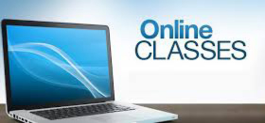 Graphic of a laptop and Online Classes