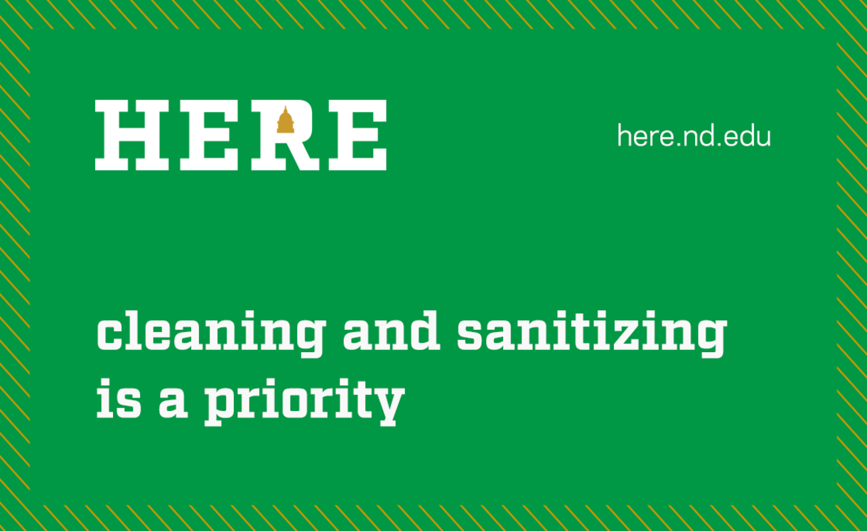 Graphic that says Here cleaning and sanitizing is a priority