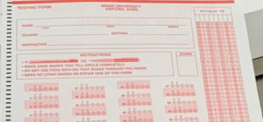 Screenshot of a scantron form for test taking