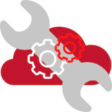 a red cloud with a wrench and gear icons