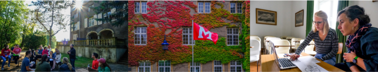 students learning outside of the chateau in Luxembourg, Miami flag in front of chateau with ivy on it, student and professor learning