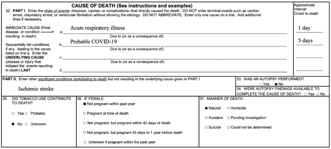 Example of properly completed cause-of-death section of the death certificate, where COVID-19 was a probable underlying cause of death