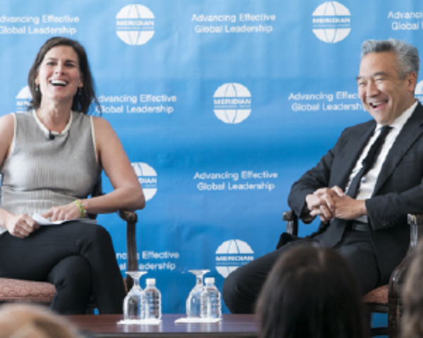 Photo: From left, journalist Claire Shipman and Kevin Tsujihara, CEO of Warner Bros.