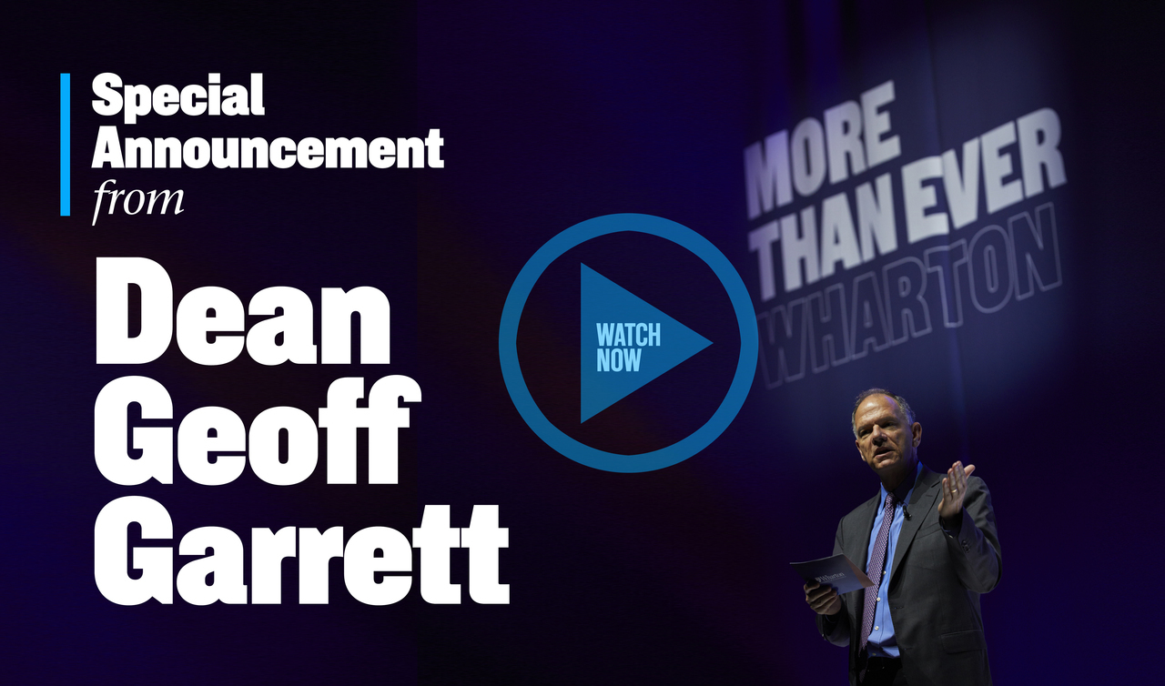 Special Announcement from Dean Geoff Garrett