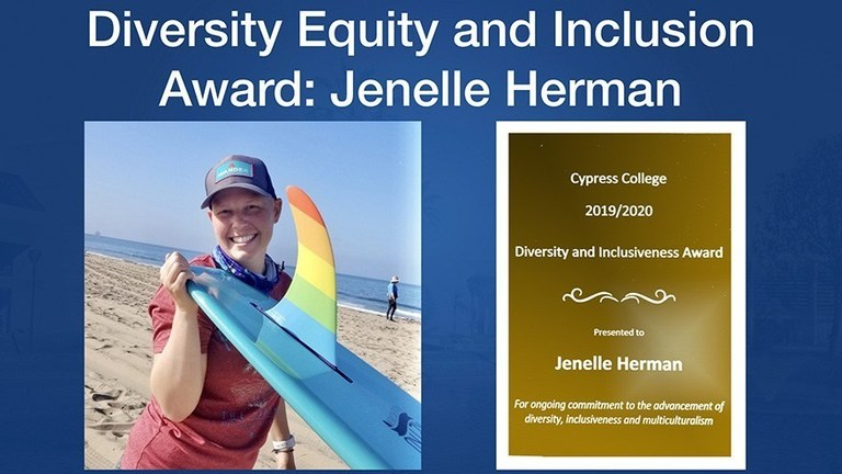 Jenelle Herman, recipient of the Cypress College Diversity and Inclusiveness Award