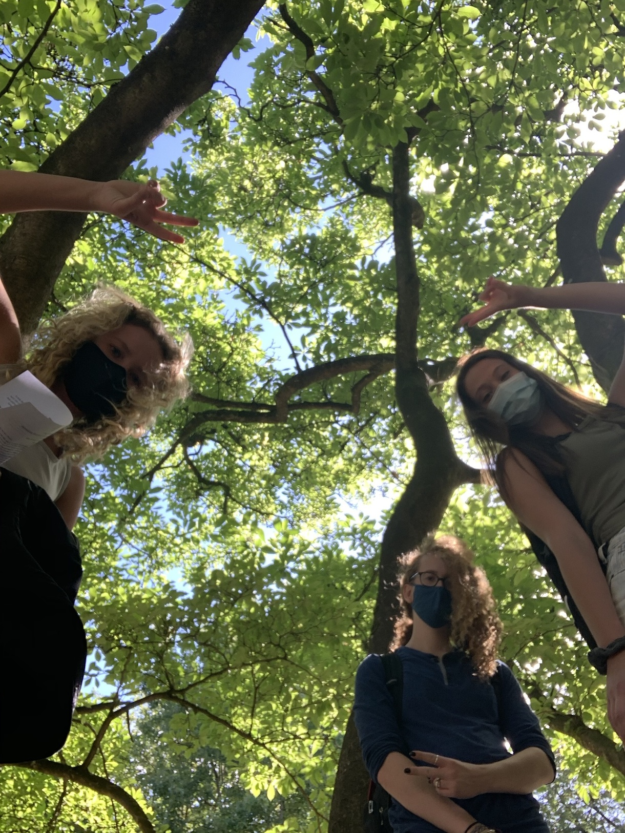 Three students in a park