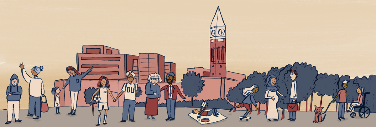 Illustration of OU Community Members in front of Clocktower