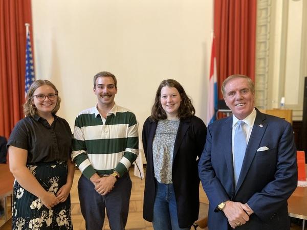 Madeline Whistler, Riley Farrell, Cass Schunk and Ambassador Evans