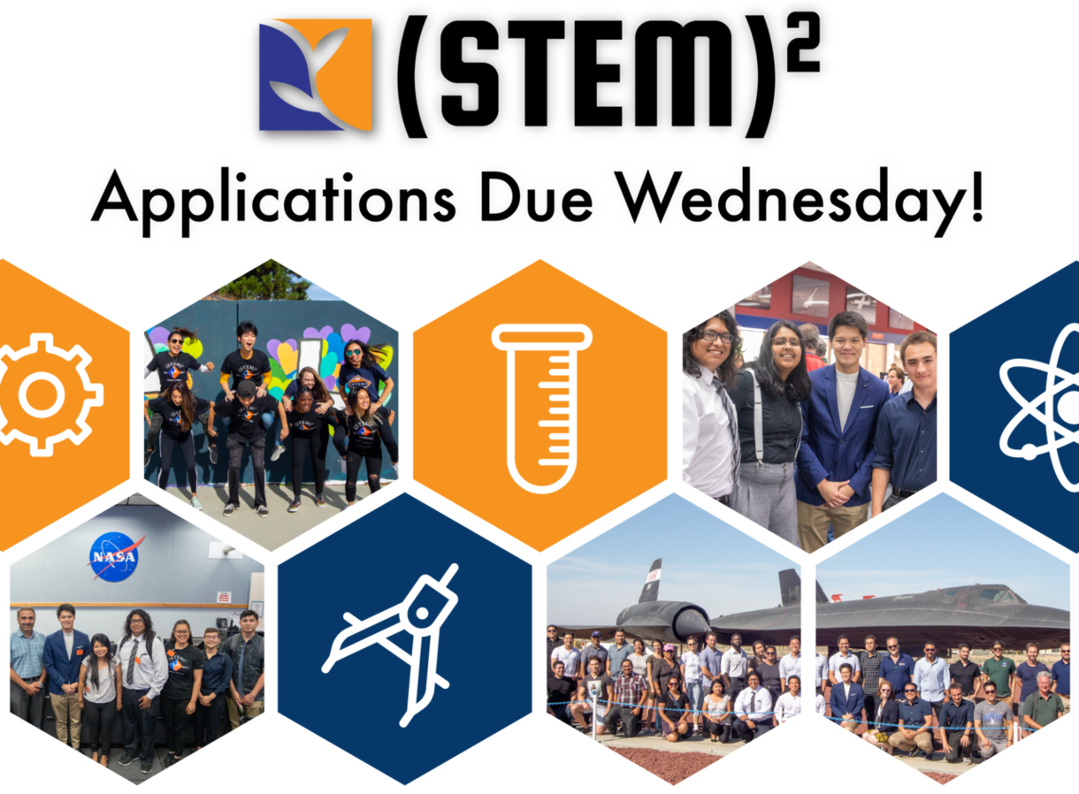 (STEM)2 Applications Due Wednesday! graphic and link to application