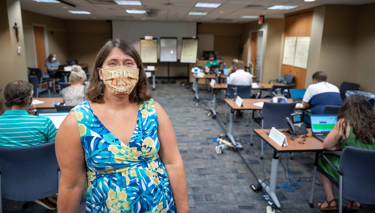 director of student support and care, is pictured in the Daily Care and Concern Team call center