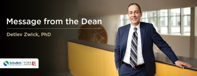 Message from the Dean, Detlev Zwick, PhD