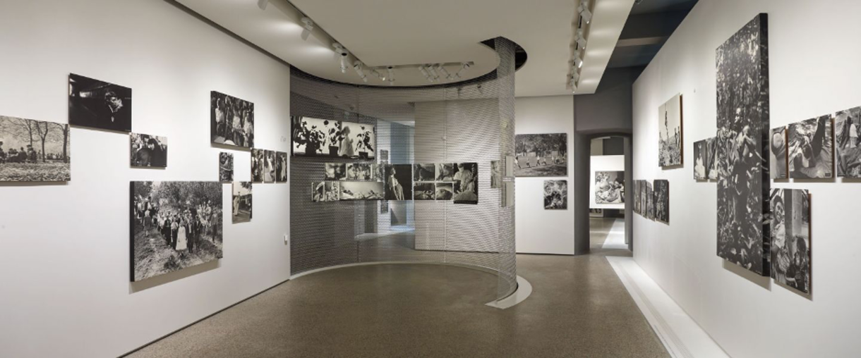 Exhibition room with photos on the walls