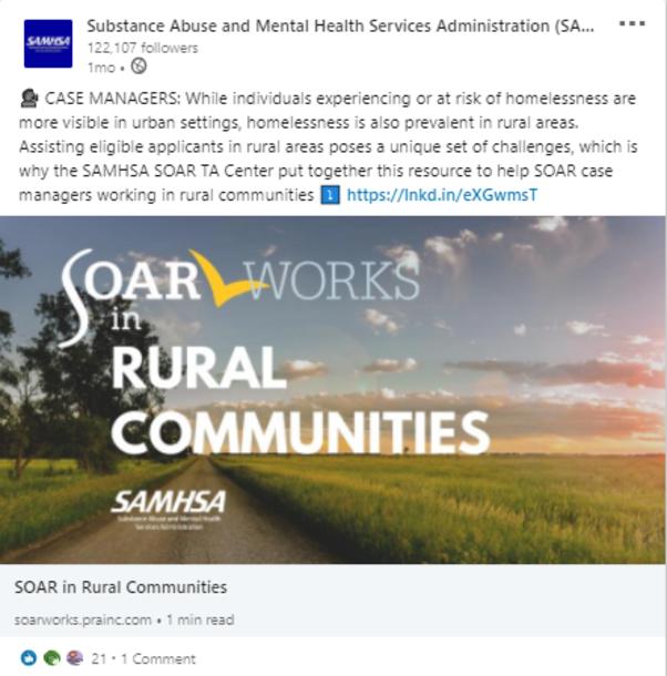 SOAR LinkedIn Post: SOARWorks in Rural Communities