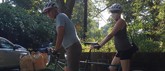 David Rain on a bicycle