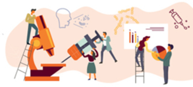 Flat icon illustration of generic science concepts