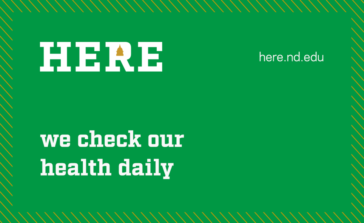 Here graphic with text: Here we check our health daily