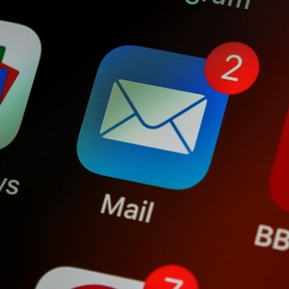 Email app with two notifications.