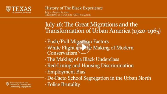 History of The Black Experience: The Great Migrations and the Transformation of Urban America