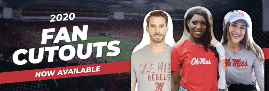 Graphic with three simulated cardboard cutouts that reads: 2020 Fan Cutouts Now Available