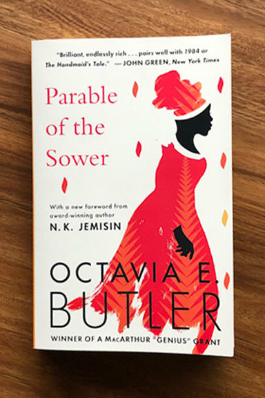 Book on table: Parable of the Sower