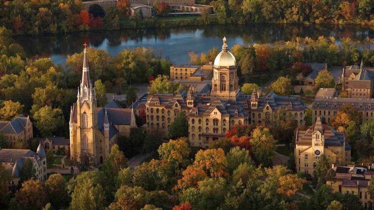 Aerial photo of University of Notre Dame campus.