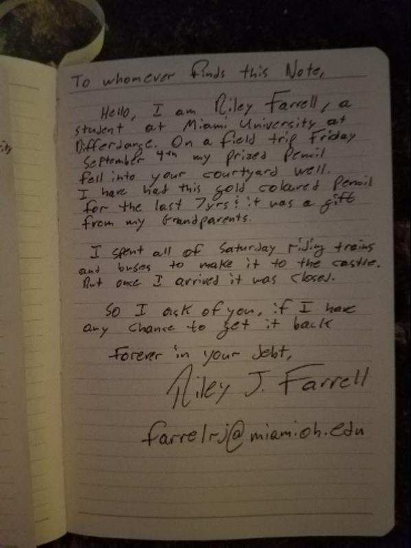 Note written on paper