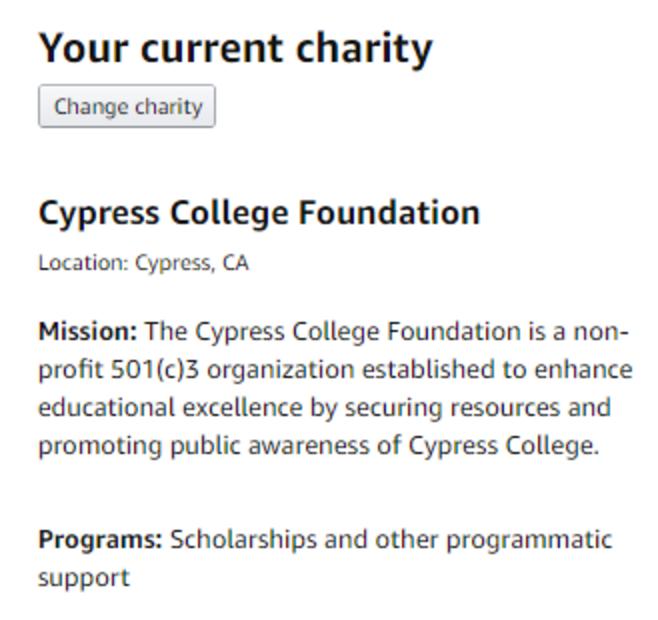 Choose your Amazon Smile charity screenshot