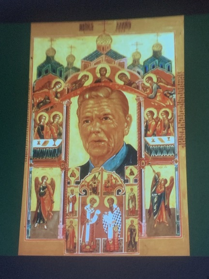 President Reagan's face in the middle of a religious painting