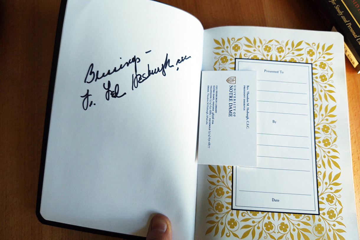 Photo of Bible signed by Father Hesburgh