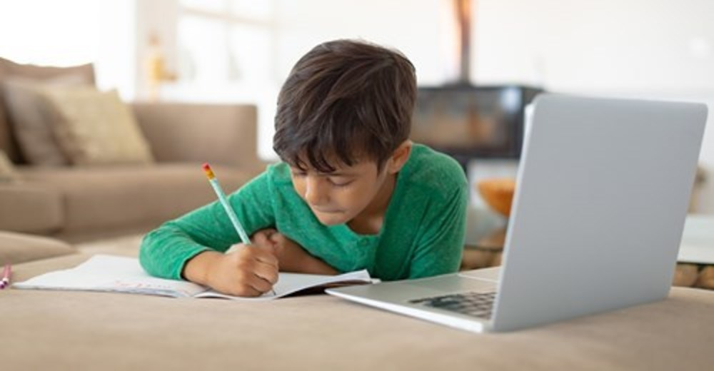 Young boy on laptop at home