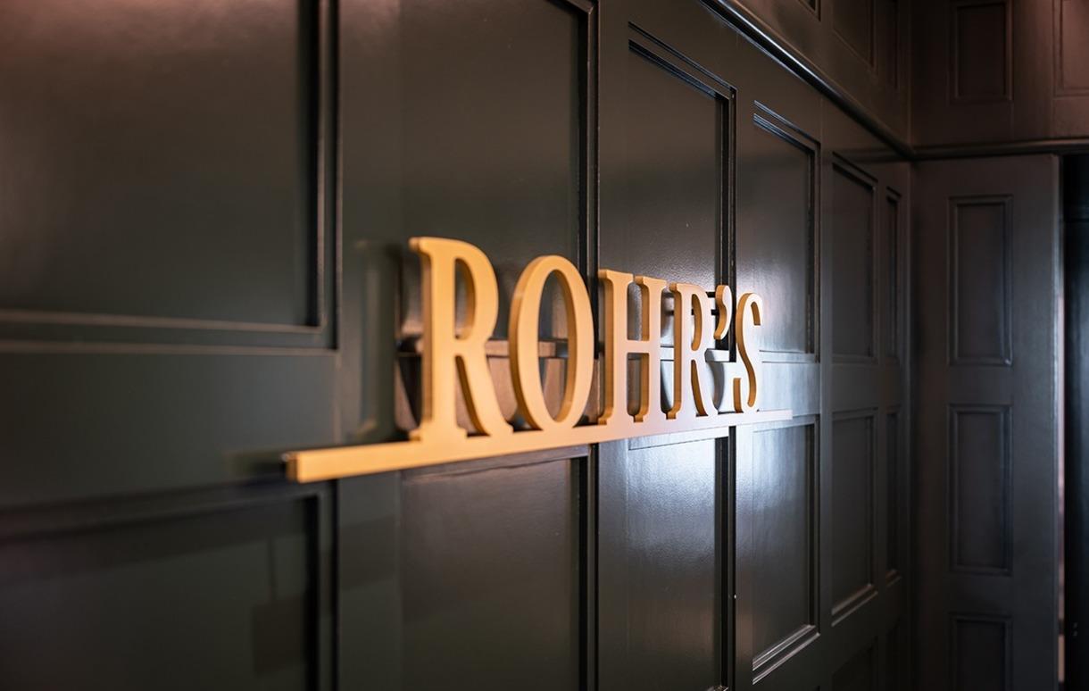 Sign outside the reimagined Rohr's inside the Morris Inn.