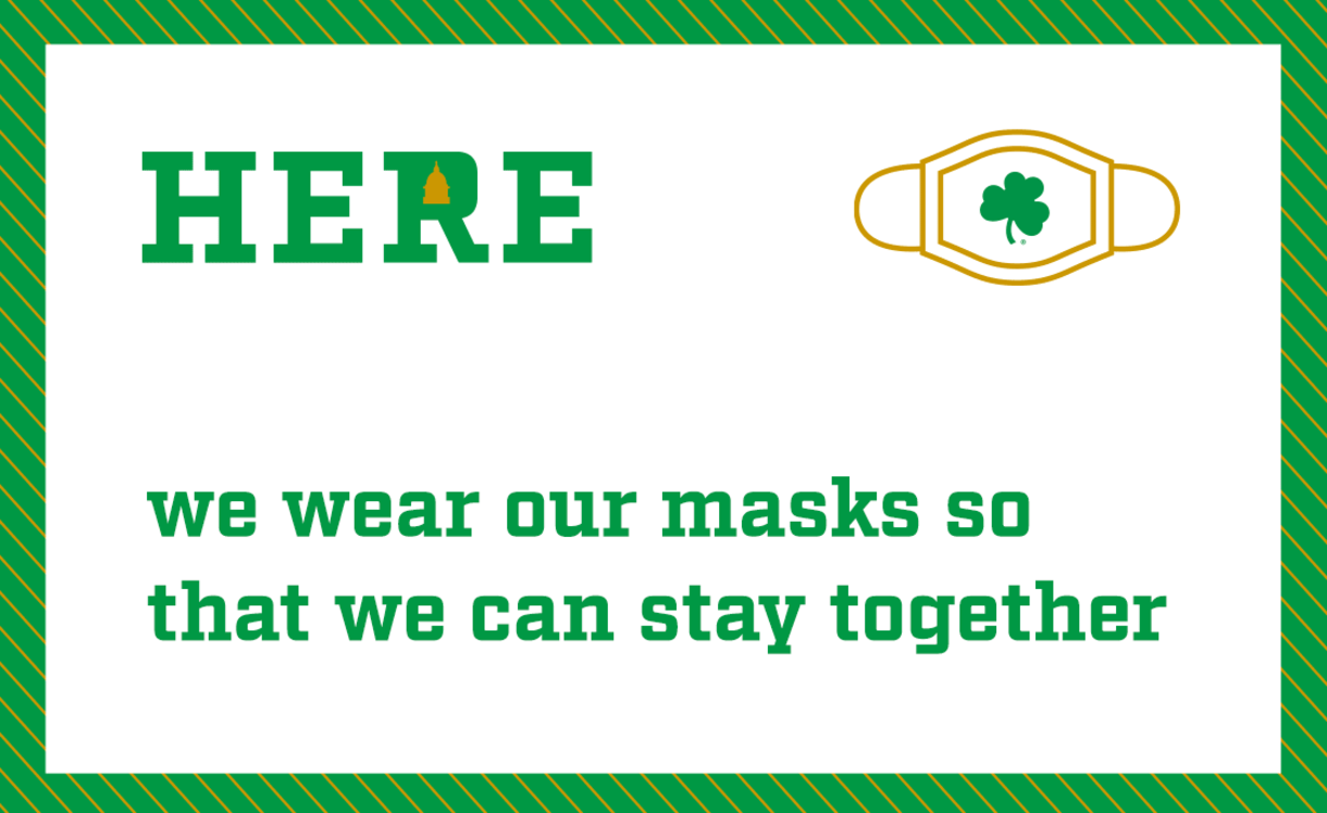 Here graphic with text: Here we wear our masks so that we can stay together