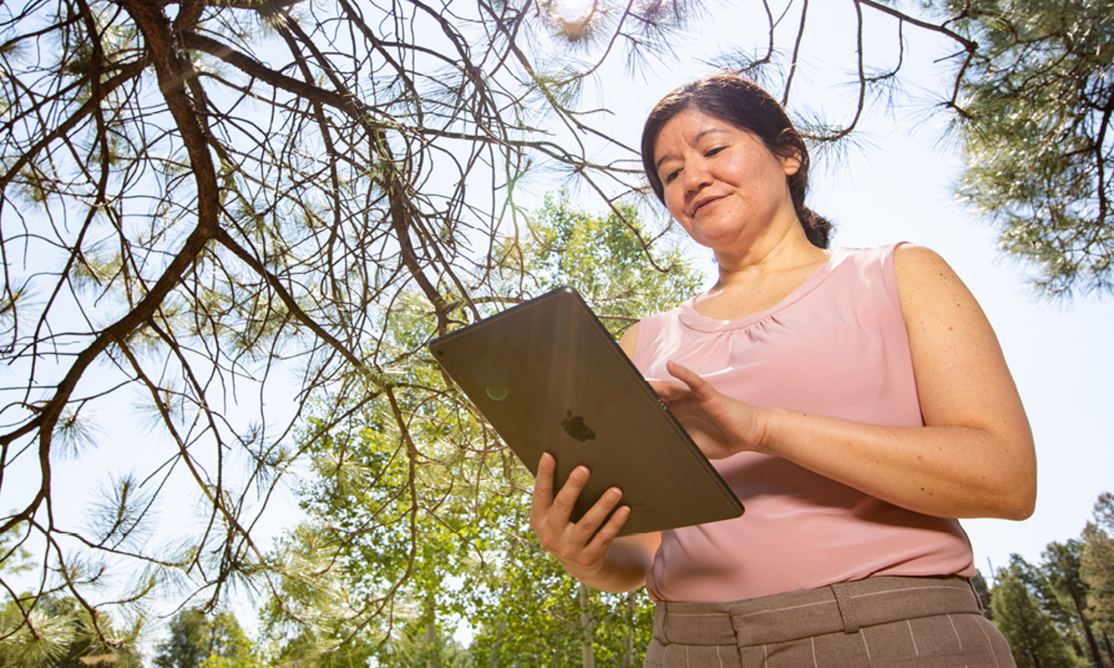 NAU faculty participating virtually outdoors.