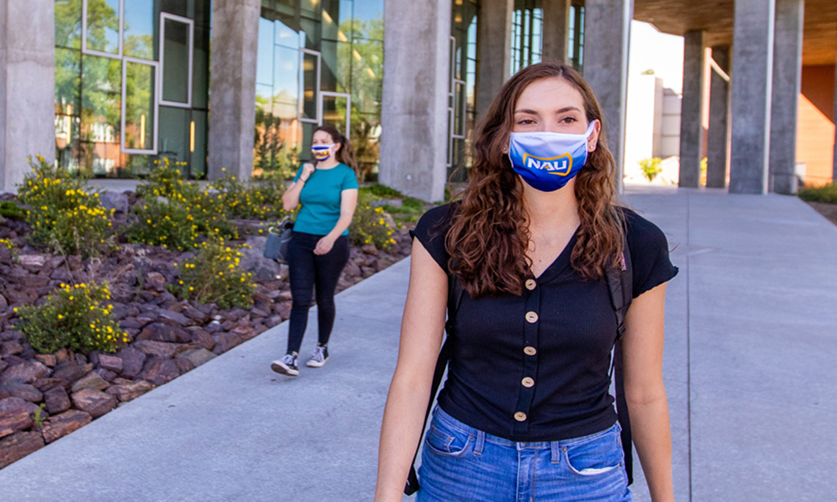 NAU students wearing NAU face coverings.
